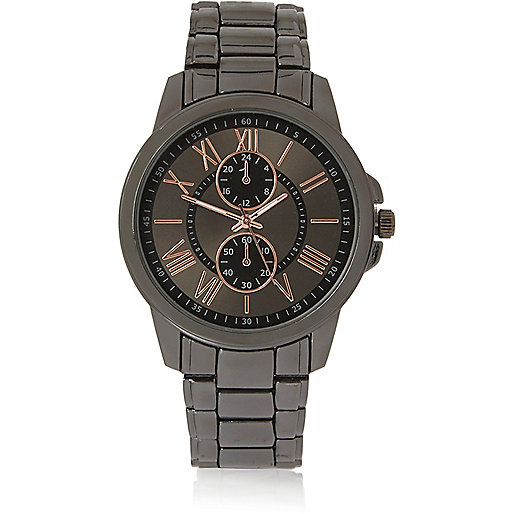 Grey tone rose gold watch