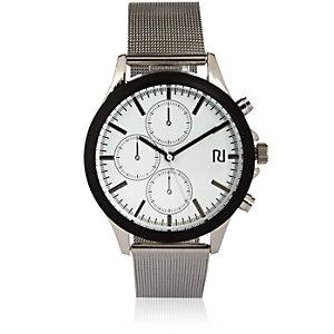 Silver tone chain strap watch