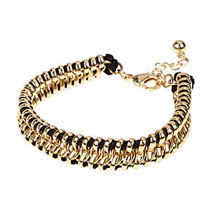 Gold tone black chain bracelet