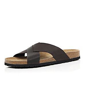 Dark brown leather cross strap sandals