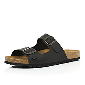 Dark brown leather double buckle sandals