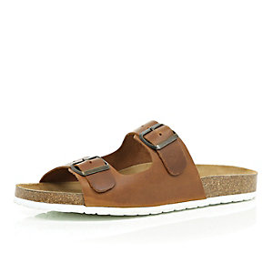 Brown leather double buckle sandals