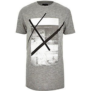 Grey marl graphic print t-shirt