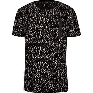 Black micro print zip t-shirt