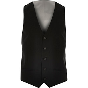 Black smart slim vest