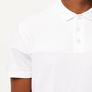 White ribbed panel polo shirt