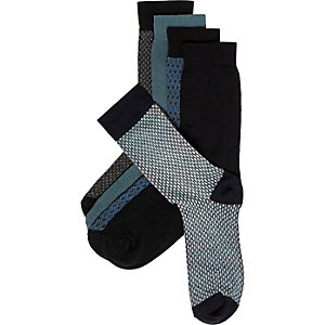 Blue pattern socks pack