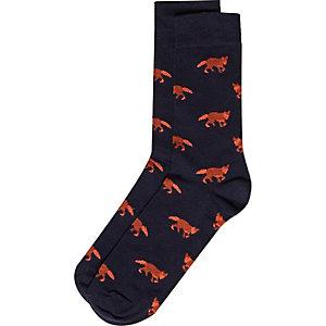 Navy fox socks