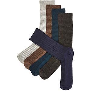 Neutral shades ladder ribbed socks pack