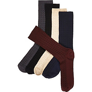 Neutral herringbone socks pack