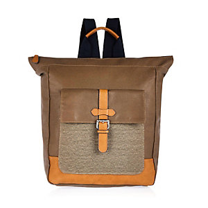 Brown canvas tote backpack
