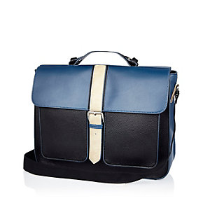 Navy structured satchel workbag