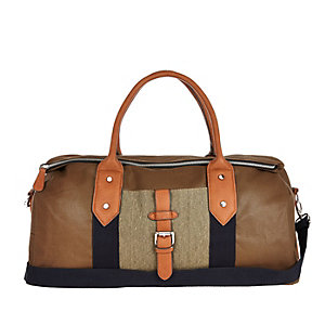 Brown canvas holdall bag
