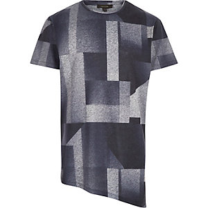 Grey faded shape print asymmetric t-shirt