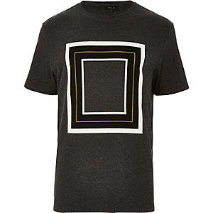 Dark grey square print t-shirt