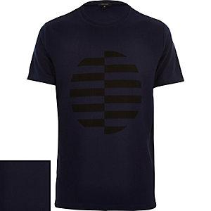 Navy ribbed circle print t-shirt