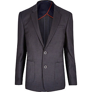 Dark grey textured slim blazer