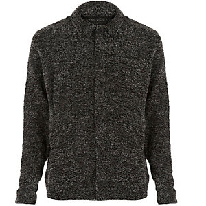 Dark grey bouclé worker jacket
