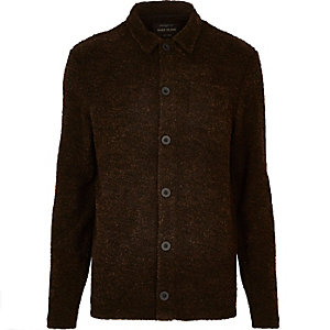 Dark brown bouclé worker jacket