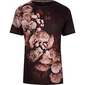 Dark red digital floral print t-shirt