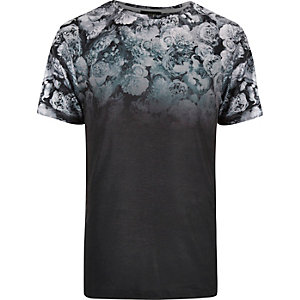 Black faded floral print t-shirt