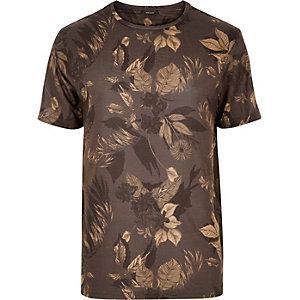 Brown floral print t-shirt