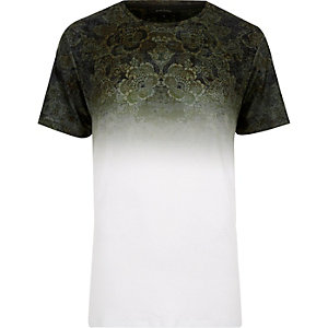 Dark green faded tapestry print t-shirt