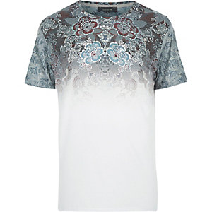 Grey faded tapestry print t-shirt