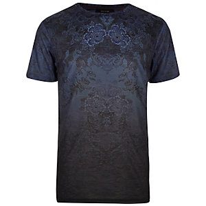 Dark blue tapestry floral print t-shirt