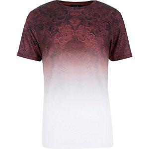 Dark red faded tapestry print t-shirt