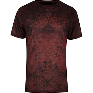 Dark red tapestry floral print t-shirt