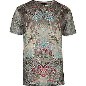 Grey tapestry floral print t-shirt