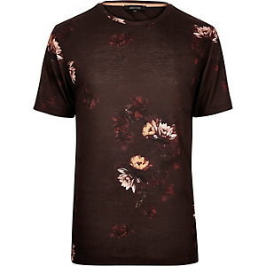Dark red faded floral print t-shirt
