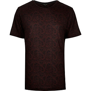 Dark red faded paisley print t-shirt