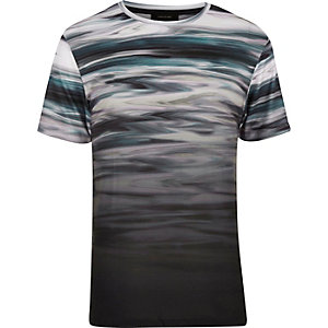 Black faded marble print t-shirt