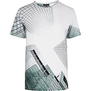 White graphic city print t-shirt