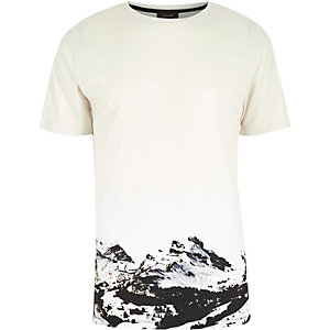 Ecru mountain print t-shirt