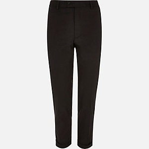 Black smart skinny cropped trousers