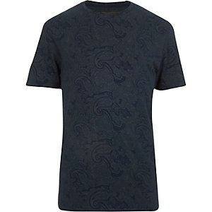 Navy paisley print t-shirt