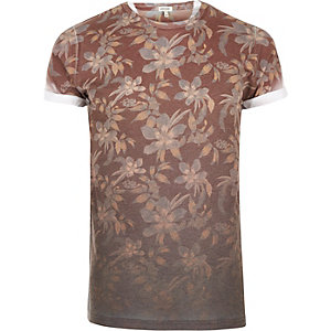 Dark orange faded floral print t-shirt