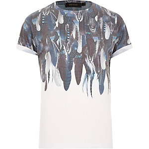 White faded feather print t-shirt