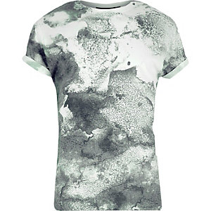 White khaki washed print t-shirt