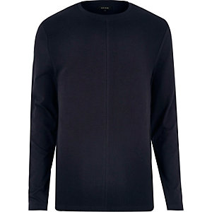 Navy textured block sweatshirt