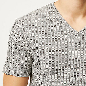 Grey marl chunky ribbed t-shirt