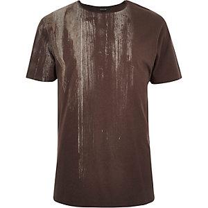 Brown faded wood print t-shirt