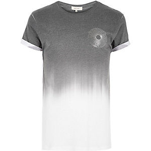 Dark grey faded spiral print t-shirt