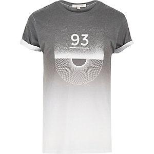 Grey faded spiral print t-shirt