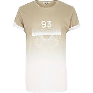 Brown 93 fade print t-shirt
