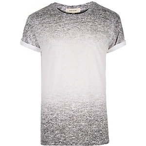 Grey textured faded t-shirt
