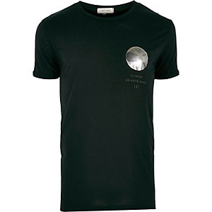 Dark green spiral chest print t-shirt